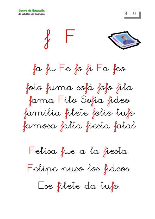 lectoescritura letra f orientaci n and jar recursos educativos. Black Bedroom Furniture Sets. Home Design Ideas