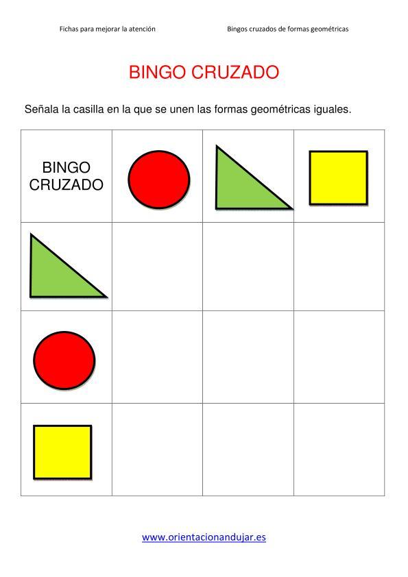 Materiales Atención Infantil y primaria: Bingo cruzado formas