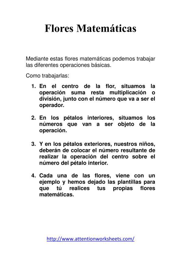 Matem  Ticas Primaria Flores Matematicas Sumas Nivel Inicial 1
