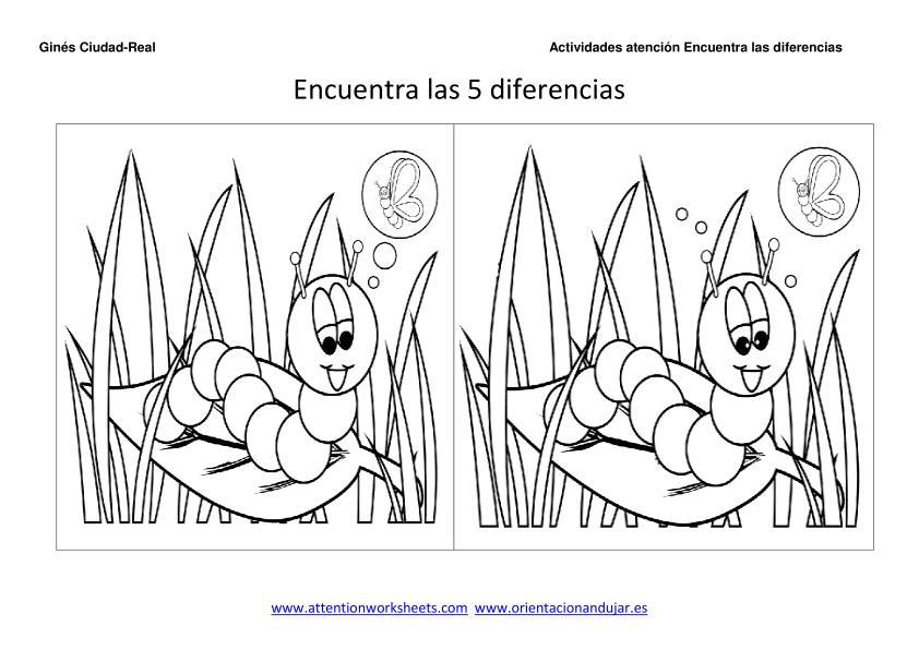 Encuentra las diferencias y colorea para niños -Orientacion Andujar