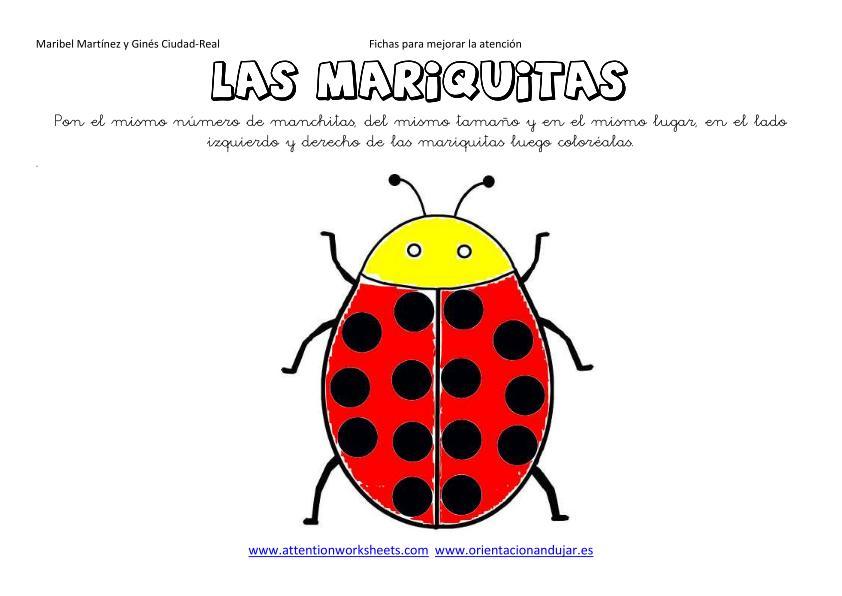 Juegos de Insectos para colorear, imprimir y pintar