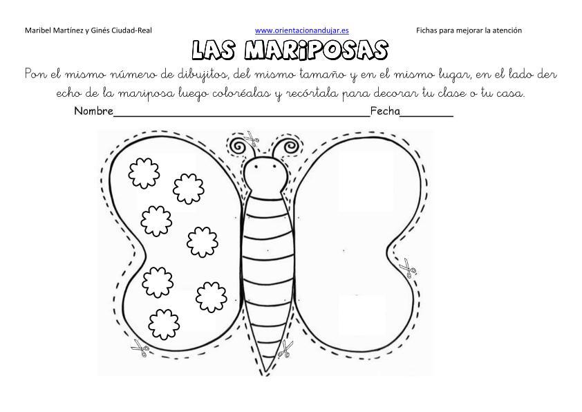 Lateralidad Derecha Y Recortar Las Mariposas Simetricas Editable