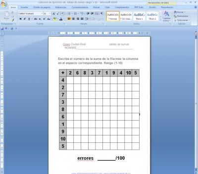 sumas primaria tablas