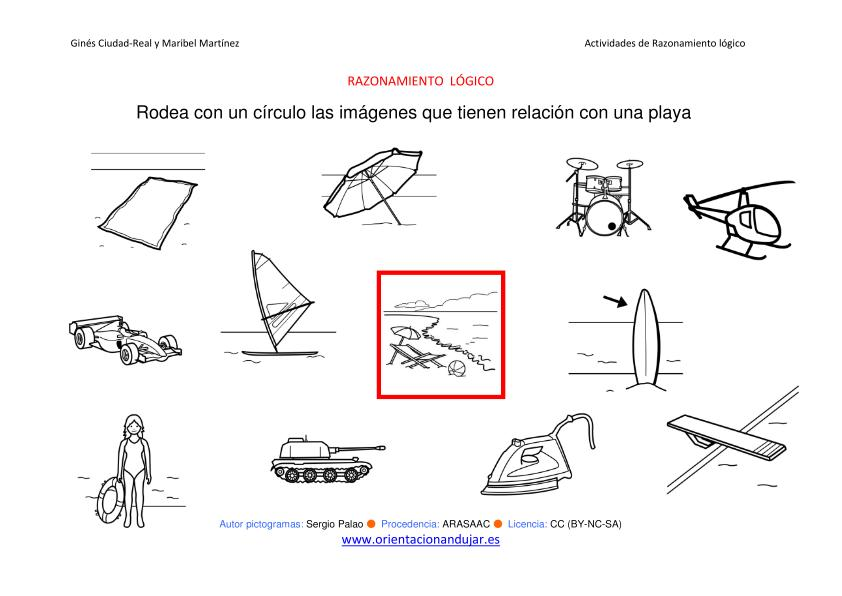 razonamiento lÓgico categorizar y agrupar objetos playa byn imagen
