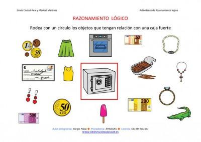 RAZONAMIENTO  LÓGICO categorizar y agrupar CAJA FUERTE COLOR IMAGEN