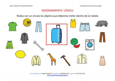 RAZONAMIENTO  LÓGICO categorizar y agrupar MALETA COLOR  IMAGEN