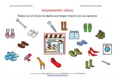 RAZONAMIENTO  LÓGICO categorizar y agrupar ZAPATERIA COLOR IMAGEN