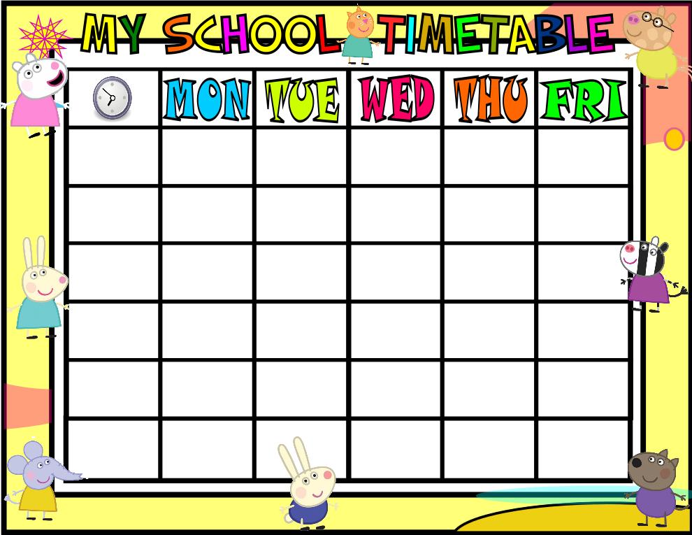 My school timetable peppa pig orientaci n and jar for School blueprint maker