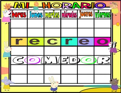 horario 6 HORAS-1 comedor peppa pig y sus amigos