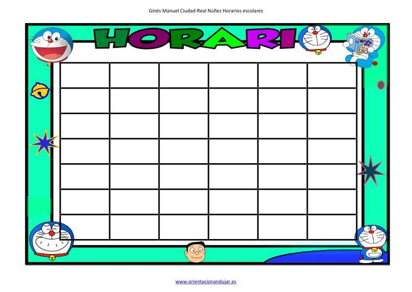 horario doraemon editable con celdas imagen