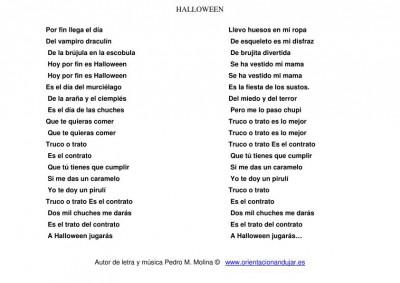 cancion de halloween para niños letra