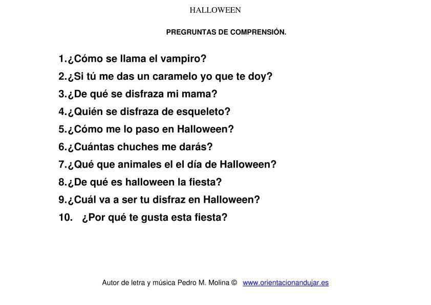 Cancion de halloween para ni os preguntas comprensi n - Literas divertidas para ninos ...