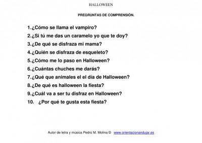 cancion de halloween para niños preguntas  comprensión