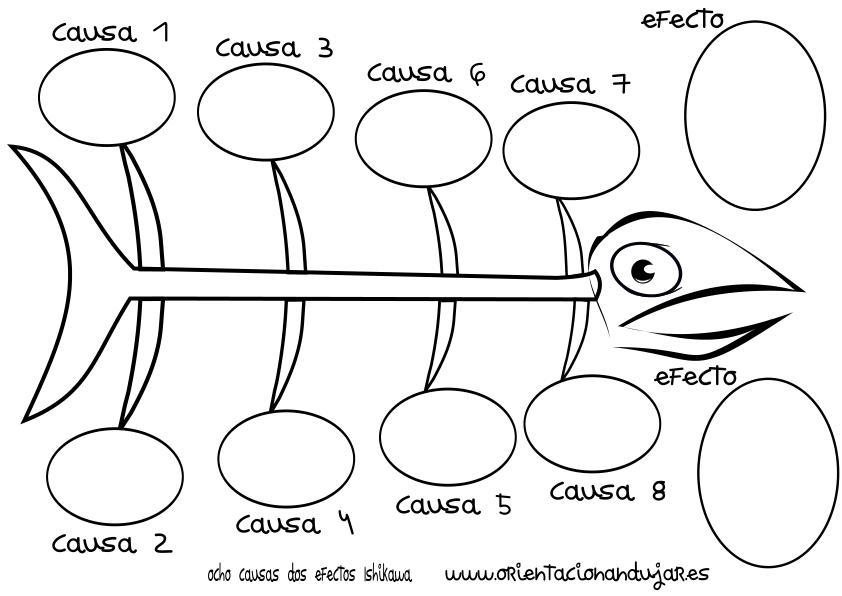organizador grafico ocho causas dos efectos ishikawa