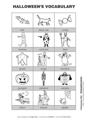 vocabulario halloween blanco y negro IMAGEN