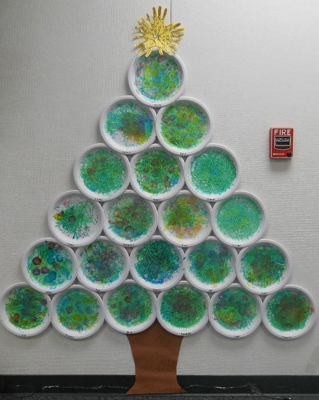 Arbol de navidad con platos de plastico pintados - O arbol de navidad ...
