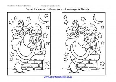 Encuentra las diferencias y colorea especial Vacaciones Navidad