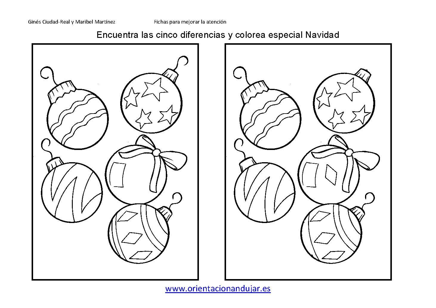 Encuentra las diferencias especial navidad 2013 ficha 6 for Actividades de navidad para colorear