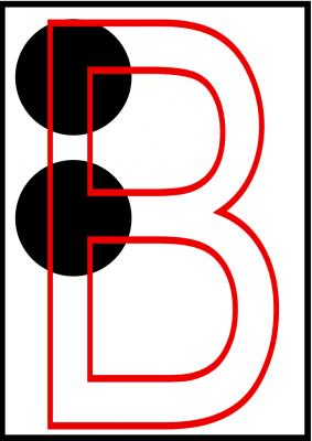 la imagen muestra una superposición de la letra b en tinta y en braille