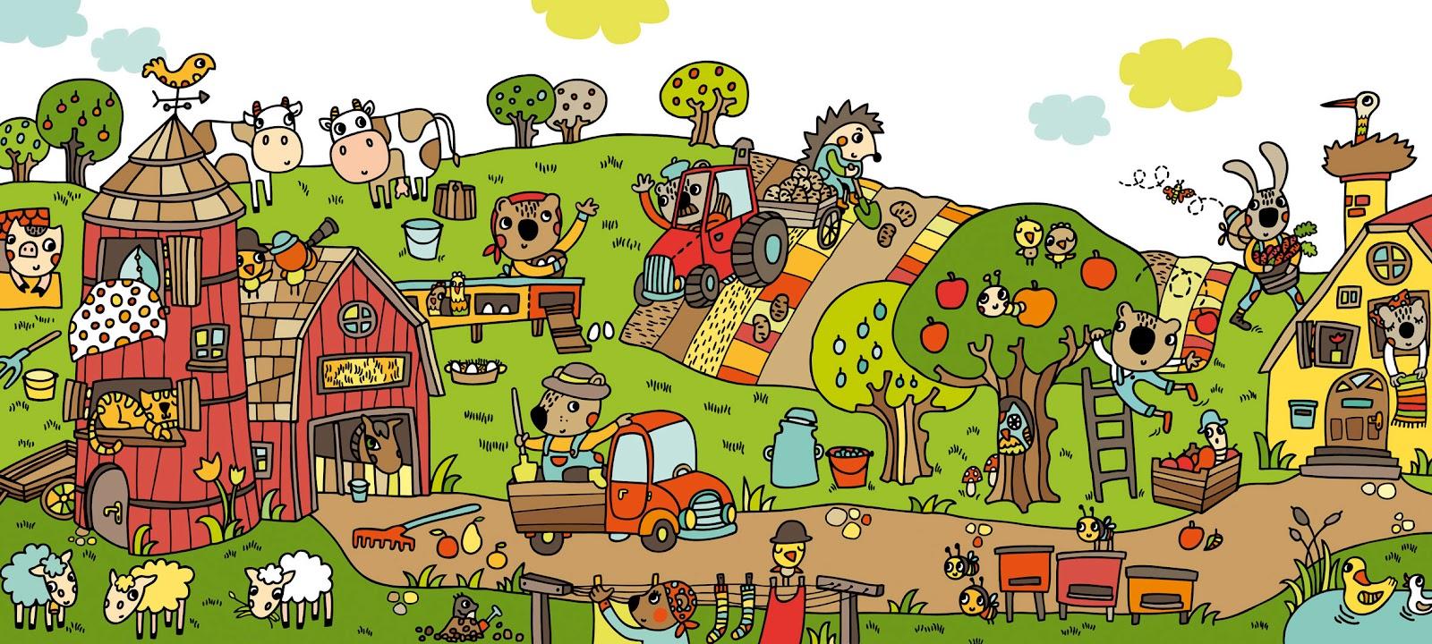 Dibujos De Granjas Infantiles A Color: Colección De Láminas En Color XL Para Trabajar Atención