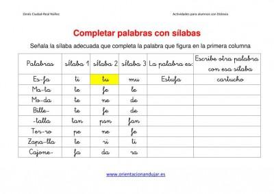 Ejercicios para niños con dislexia Completar palabras con sílabas imagen1
