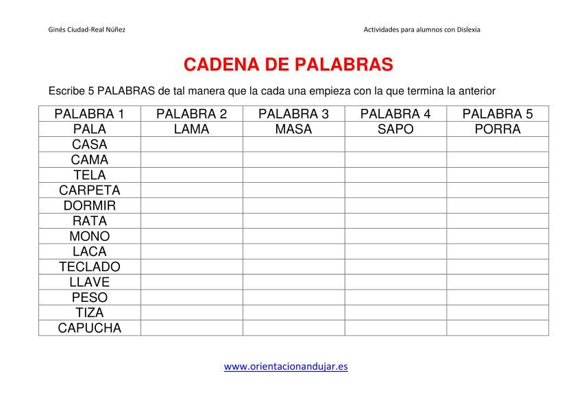 Actividaes dislexia cadena de palabras imagen 1 for De que lengua proviene la palabra jardin