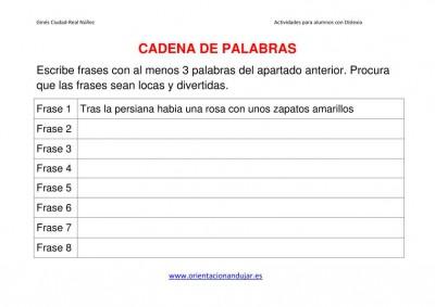 ACTIVIDAES DISLEXIA CADENA DE PALABRAS imagen 3