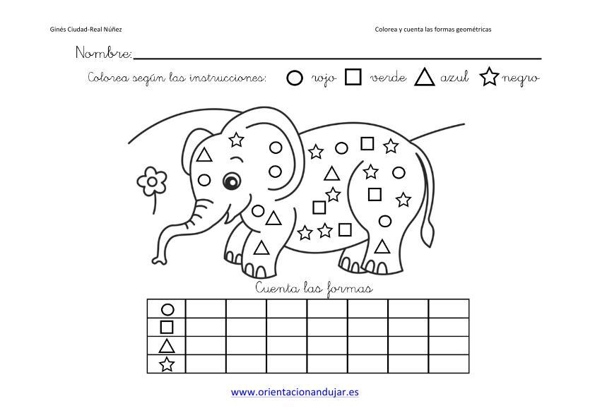 colorea y cuenta las formas geometricas con animales imagenes_4 ...