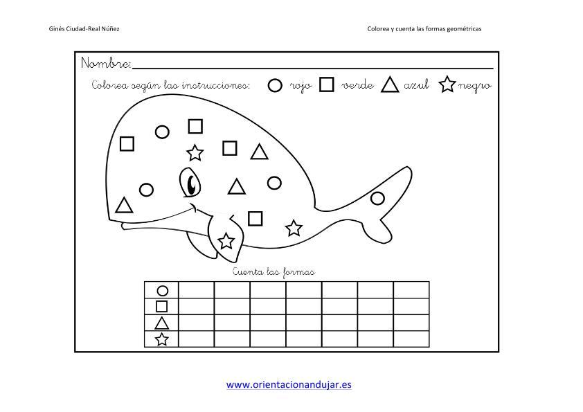 Colorea y cuenta las formas geométricas trabajamos la atención