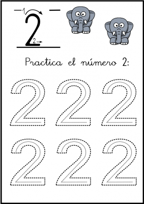 lectoescritura de numeros el 2 ficha 2