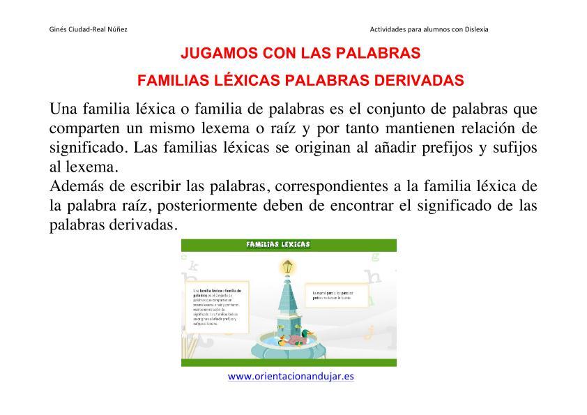 Familia de Palabras Ejercicios Familias Léxicas Palabras