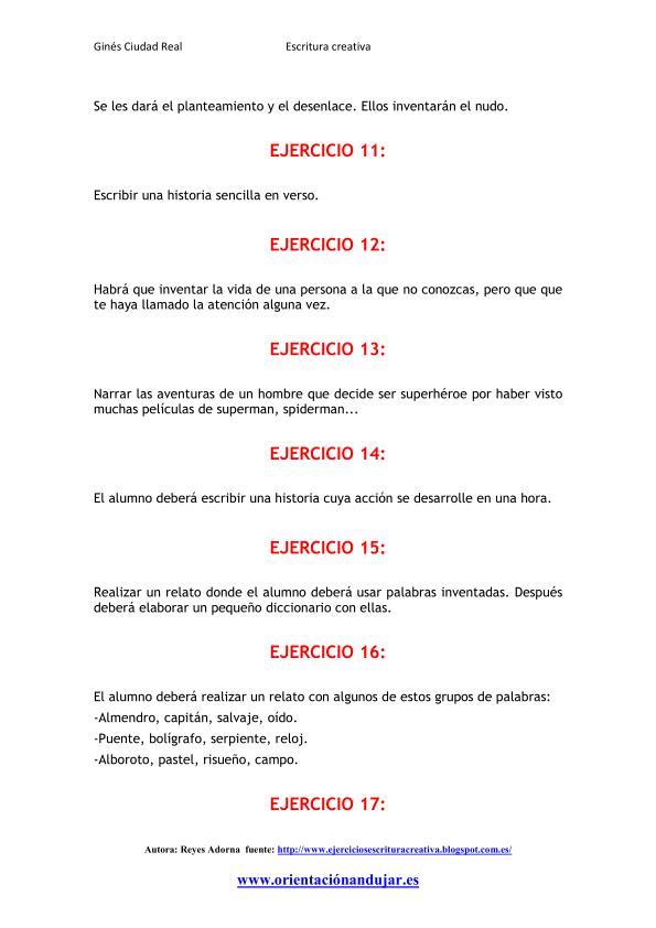 Escritura Creativa en narrativa 25 ejercicios Primera entrega