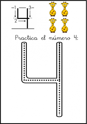 lectoescritura de numeros el 4 ficha 1