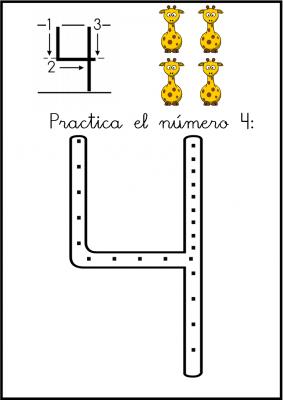 lectoescritura de numeros el 4 ficha 3