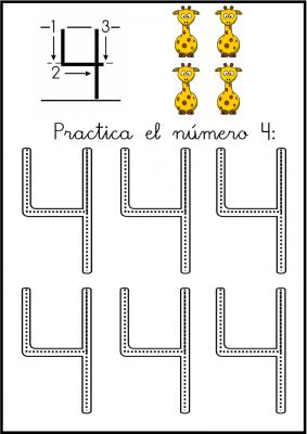 lectoescritura de numeros el 4 ficha 6