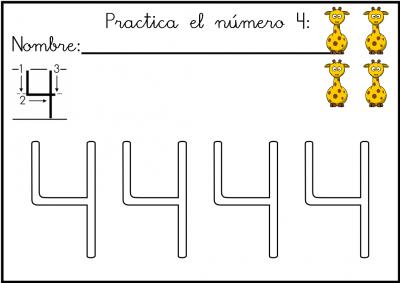 lectoescritura de numeros el 4 ficha 7
