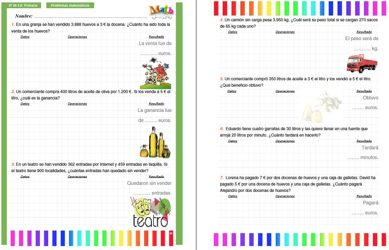 Colección de problemas para 6º de Primaria en PDF e Interactivos ...