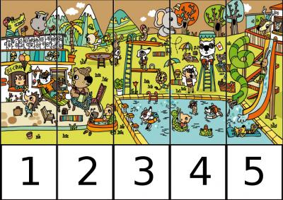 puzle de numeros 1-5 EN LA PISCINA