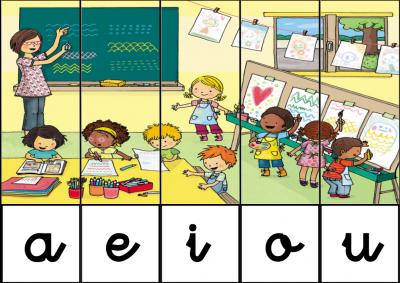 puzzle de VOCALES EN EL COLEGIO