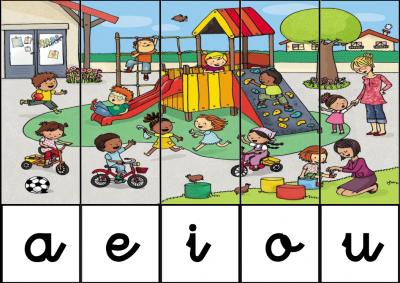 puzzle de VOCALES EN EL RECREO
