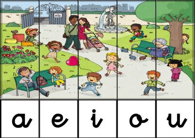 puzzle de VOCALES EN el parque