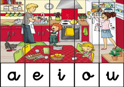 puzzle de VOCALES EN la cocina