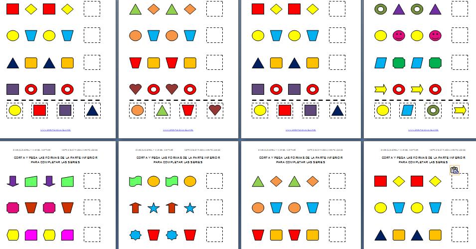 Actividades de cortar y pegar con formas geométricas