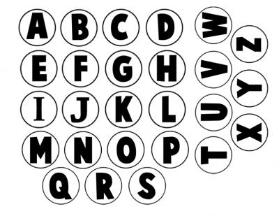 abecedario para tapones blanco y negro
