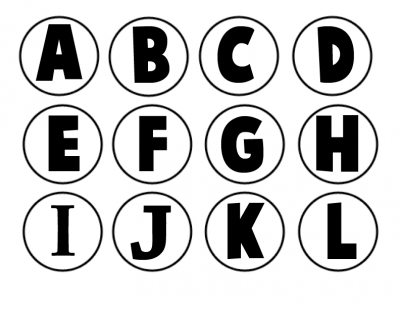 abecedario para tapones blanco y negro grande 1