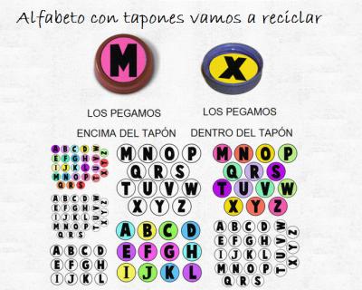 alfabeto con tapones vamos a reciclar
