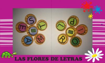 Actividades con el alfabeto de tapones. LAS FLORES DE LETRAS
