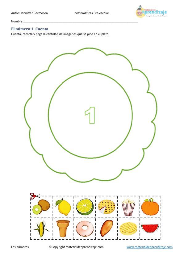 Colección de Fichas de matemáticas para preescolar Aprendemos a contar