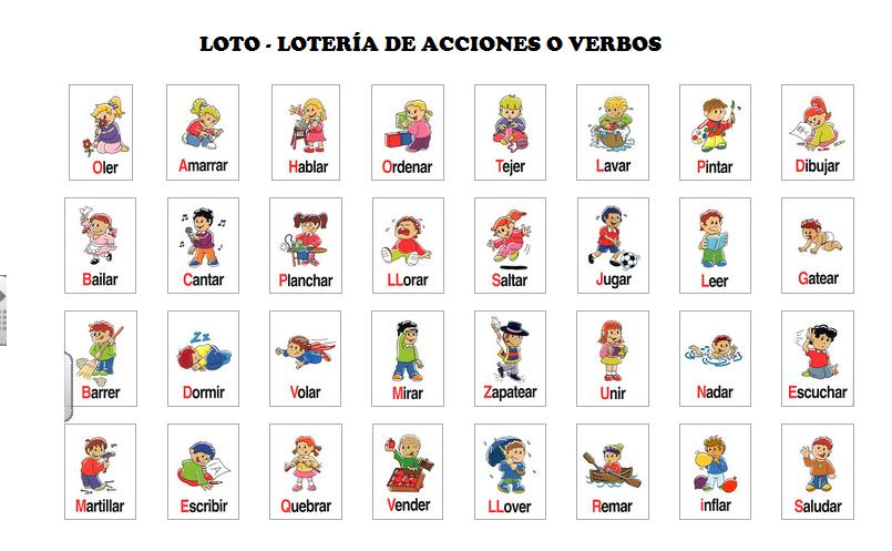 Loto o lotería de verbos o de acciones