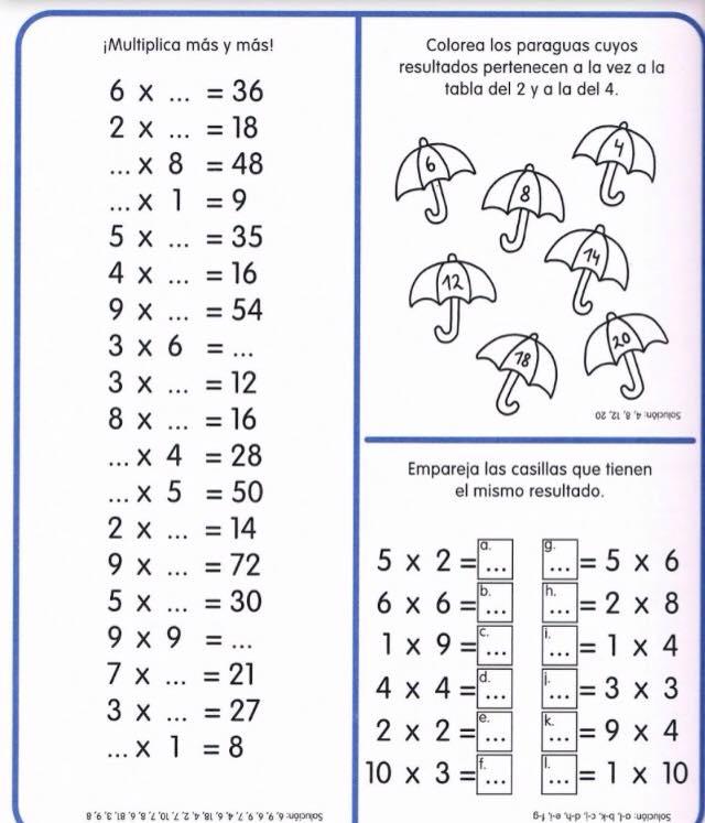 Impresionante cuaderno de repaso Tablas de multiplicar  Tablas